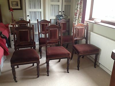 Set Of 6 Walnut Antique Dining Chairs