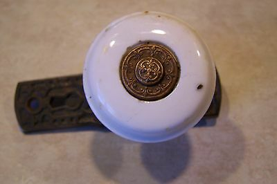Antique 1876 White Porcelain Thumb Lock Door Knob Patented May 30,1876 -141 Year