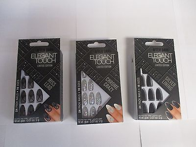 ELEGANT TOUCH LIMITED EDITION AFTER DARK 24PC NAILS 10 SIZES 2g NAIL GLUE