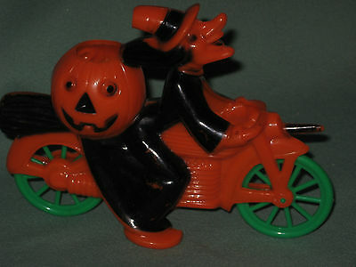 Vintage Halloween Hard Plastic Candy Container Rosbro Witch on Motorcycle
