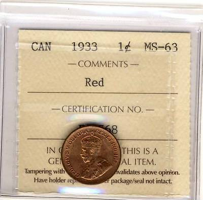1933 1Cent Canada   Iccs Fs568  Graded Ms63  Nice  Red Coin