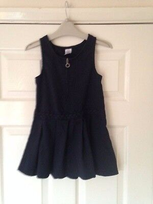 Girls Navy School Pinafore Dress Age 4-5