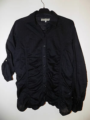Vintage Ladies Black Ruched Cotton Blouse From Clockhouse (C&A) Size 14