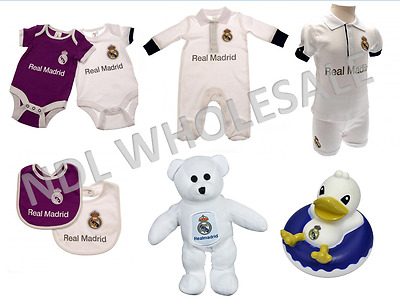 REAL MADRID Baby Clothes Body Suit Sleep Suit Shirt & Short Bear Bib Duck Gift