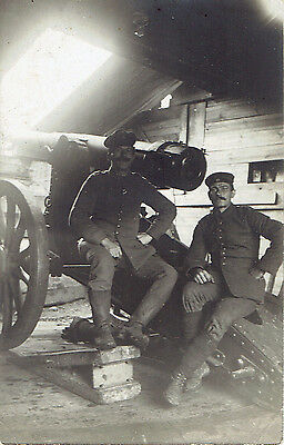 WW1 Original PC Photograph German Soldiers in Fortified Bunker with Cannon