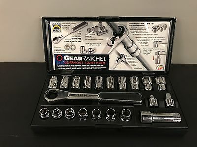 "GearRatchet 21pc Socket Wrench Set Metric & Sae 1/4"" & 3/8"" With Case"