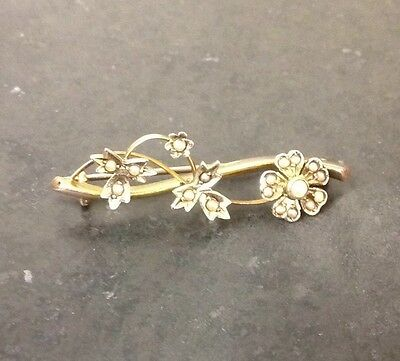 Vintage 9Ct Gold And Pearl Brooch
