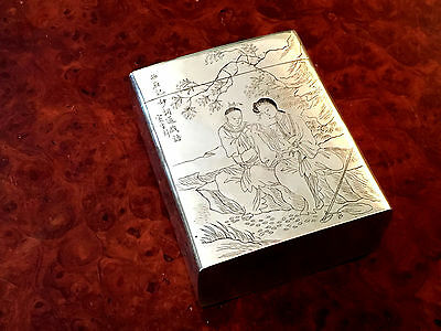 Vintage Chinese Silver Clad Copper Tea Caddy