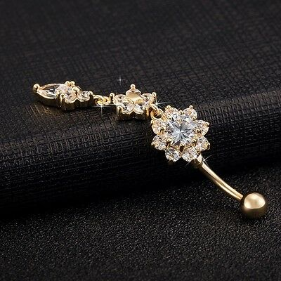 infoAU 18K Gold Plated Dangle Flower AAA Crystal CZ Navel Bell Button Rings