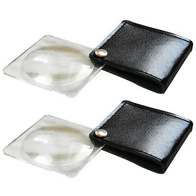 Medisure Folding Magnifier Glass and Cover Twin Pack, Easy Carry Pocket Size