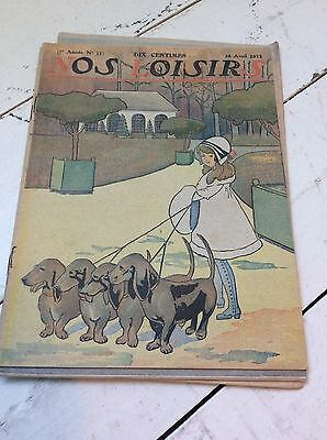 23 x Nos Loisirs vintage magazines from 1908 - 1913
