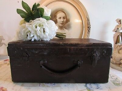 Antique French superb old wooden, leather covered suit case, carrying case.