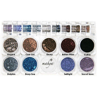 "MAHYA ""Gothic"" 100% Pure Mineral Multi-Purpose Eyeshadows 9 Colors Stack Vegan"