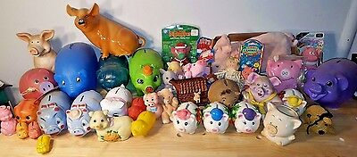 HUGE LOT of PIGS Vintage 1960's-90's piggy banks, plush, squeeze, stuffed toys