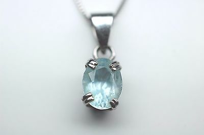 Blue Stone Pendant Necklace in Sterling Silver - Stamped 925 - 18 inch
