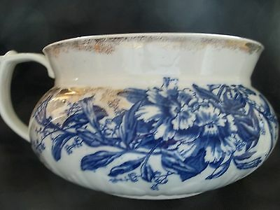 Antique FLOW BLUE WITH GOLD, C & H Tunstall England PETUNIA PATTERN Chamber Pot
