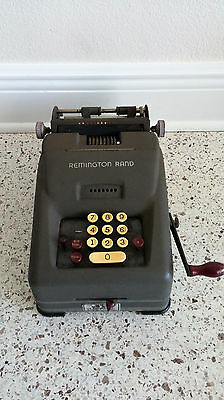 Vintage 10 Key Remington Rand Adding Machine with a Hand Crank Clean!
