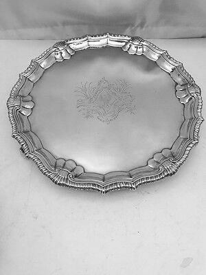A GEO II 10 inch SILVER SALVER - LONDON - 1751 by GEORGE HUNTER