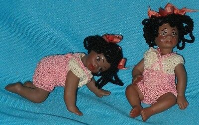 Vintage Bisque Miniature BLACK TWIN DOLLS in Crochet Outfits