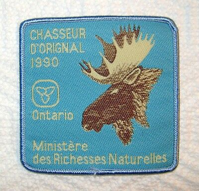 VERY RARE 1990 FRENCH ONTARIO MNR MOOSE HUNTING PATCH badge,crest,deer,bear