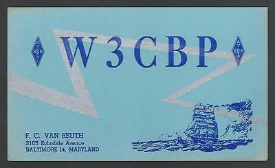 Vintage  Qsl Radio Card  W 3 C B P Baltimore Maryland  U.s.a. 1950
