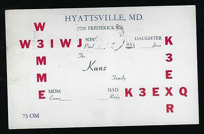 Vintage   Qsl Radio  Card Kunz Family  Mom Dad Son & Daughter Hyattsville M.d