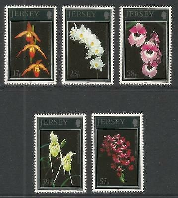 Jersey 1993 Orchids--Attractive Flower Topical (626-30) MNH