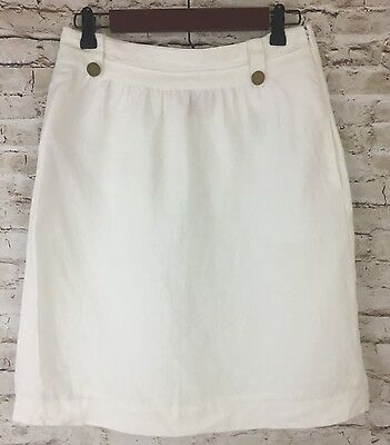Tory Burch Womens White Linen A Line Skirt sz S 4