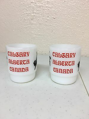 2 Fire King Calgary Alberta Canada Milk Glass Mugs With Cowboys Stampede