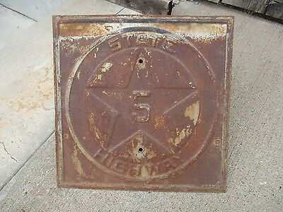 Scarce Texas State Route Embossed Metal Highway Sign Gas Oil Car Ford
