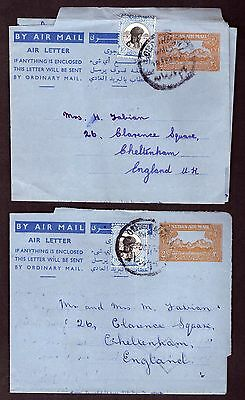Sudan: Air Mail letters & Aerogrammes (6) Some up-rated with adhesives.