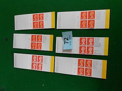 6  GB  4 x 1st class stamp booklets with different cylin no  under face value 72