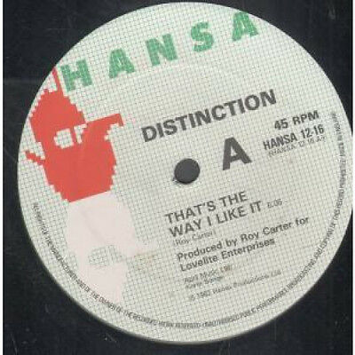 """DISTINCTION That's The Way I Like It 12"""" VINYL 2 Track B/w Looking For Love (h"""