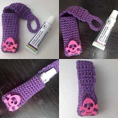 New Violet Pink Handmade Crochet Knitting Cotton Case For Ointment Cream Lipstik