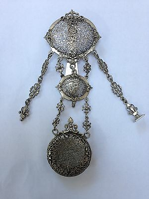 Victorian Silver Plated Chatelaine with Fretwork Watch Holder