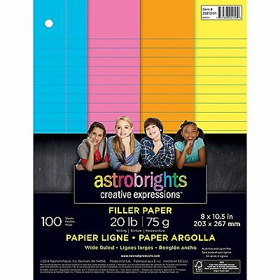 """Astrobrights Color Paper, Wide Ruled Filler Paper, 3-Hole Punched, 8"""" x 100"""