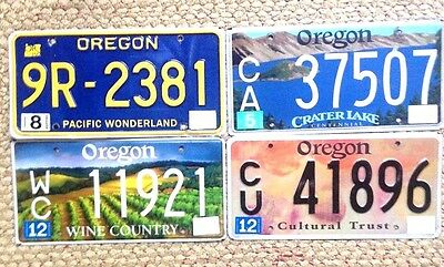 4 Oregon Graphic License Plates Lot Wine Country, Crater Lake, Retro, And Arts