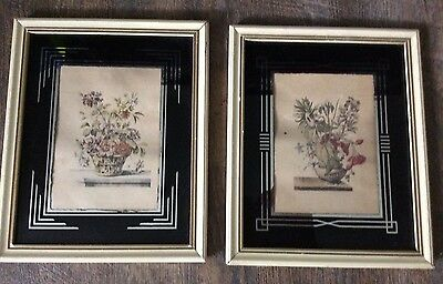 Pair Art deco reverse painted frame with flower prints