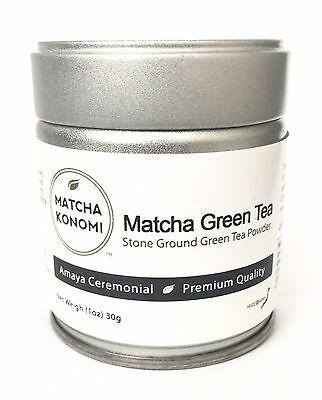 Amaya Premium Ceremonial Matcha Powder - Green Tea - 30g (1oz) Tin 1oz Container