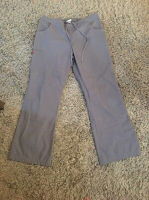 DICKIES Xtreme Stretch Flare Leg scrub PANTS size S SMALL Grey Gray Petite
