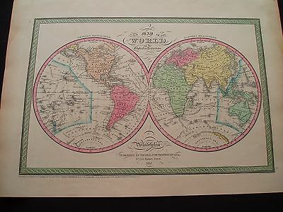 1851 Mitchell Atlas Map World 166 Years Old Antique