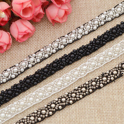 DIY Sewing Applique Pearls Beaded Lace Trim Ribbon Wedding Dress Decor Craft