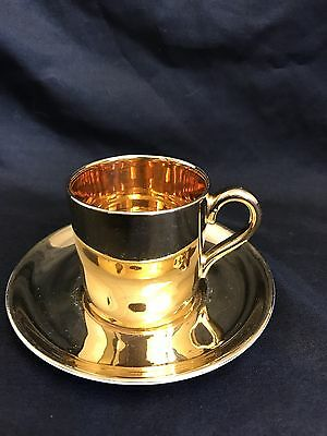 Crown Devon Made in England Gold Tea Coffee Cup and Saucer