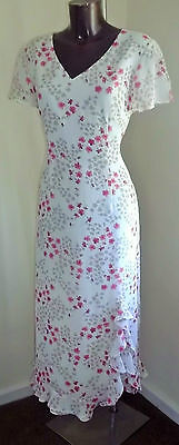 Jacques Vert Ivory pink & beige floral Mother of Bride/occasion dress size 12