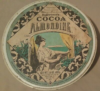 VINTAGE Pushpinoff Cocoa Almonds 14 Oz. Tin