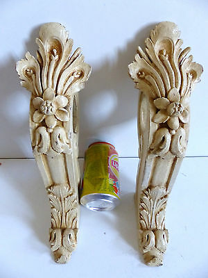 RARE PAIR of LARGE ANTIQUE FRENCH 19thC CARVED PAINTED CURTAIN ROD HOLDERS 1880s
