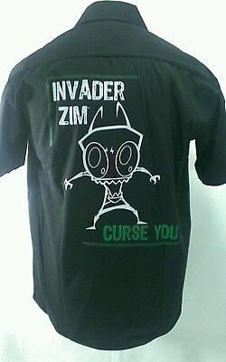 Invader Zim Button Front Shirt Black Nickelodeon Bowling Rare Adult Large EUC