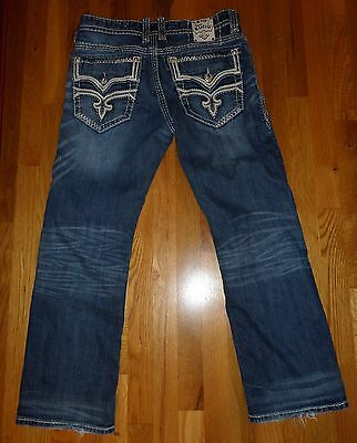 EUC Men's Rock Revival Ricky Relaxed Straight Leg Jeans Size 34 x 30