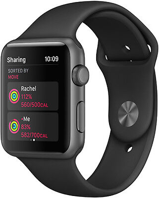 Unlocked Apple Watch Series 1 - 42mm Space Gray Aluminum Case Black Sport Band