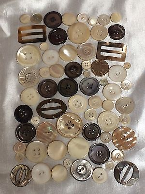VICTORIAN & LATER VINTAGE BUTTONS,x67 MOTHER OF PEARL & SHELL BUTTONS & BUCKLES